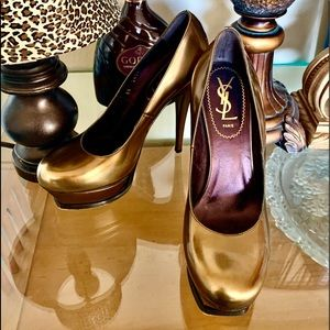 Yves Saint Laurent Metallic Gold Tribute Shoes